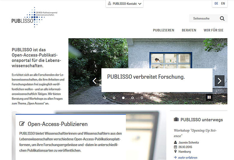 Screenshot von www.publisso.de